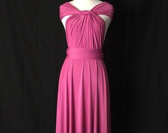 Magenta Bridesmaid Dress , Infinity Dress,Knee Length Wrap Convertible Dress.Party dress-A20#