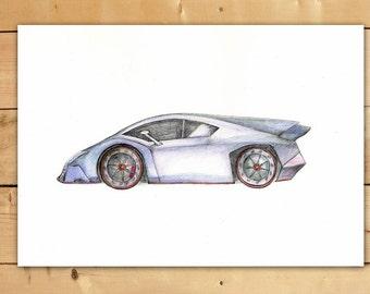 Lamborghini Veneno car Original painting Watercolor Cars decor Transportation art Boy's nursery wall art