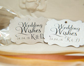 Custom Wishing Tree Tags. Wedding Wishes with Initials and date. Mink Wedding guest cards. Rectangle printed favour tags. Pearlised card