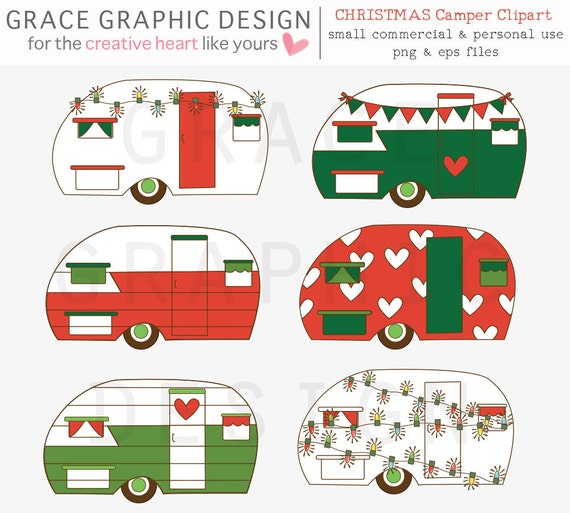 Christmas Clipart Set Retro Camper Commercial Use Hand Illustrated Holiday Graphics DIY Cards Greetings Holidays Art