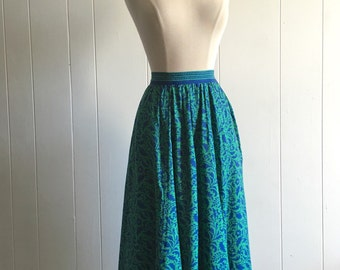 vintage floral full skirt XS ~ 90s flowy midi skirt with pockets