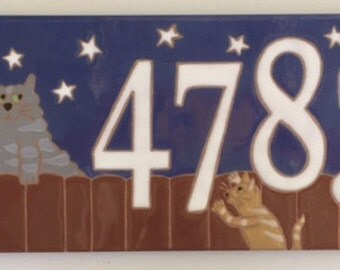 Cats on Fence address tile