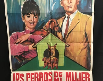 Original 1965 The Ugly Dachshund Spanish Movie Poster One Sheet, Walt Disney, Suzanne Pleshette, Dean Jones