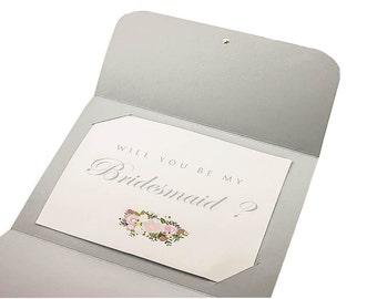 Gray A2 Card Bridesmaid Card Maid of Honor Proposal Card Will You Be My Bridesmaid Card Bridesmaid Proposal Card