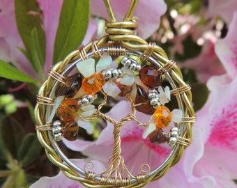 Ethiopian Opal Smoky Quartz Tibetan Silver Glass Tree of Life Pendant Suncatcher