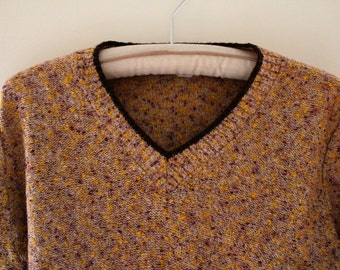 Vintage Beige V-Neck Sweater