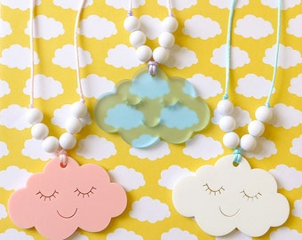 Cute Cloud Necklace - Laser Cut Acrylic Kawaii Children's Necklace Children's Jewellery Sky Weather
