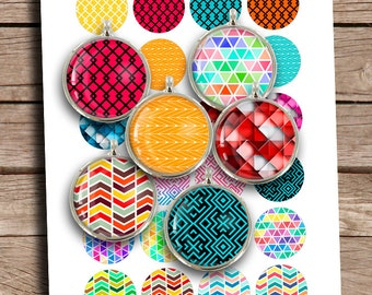 Geometric Patterns 10mm 12mm 14mm 16mm 18mm Circle Printables Digital Collage Sheet Instant Download