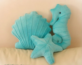 Seahorse, Seashell and Starfish Set of 3 Pillows, Toy Pillow, 3D Pillow, Nautical Decor, Beach House Decor