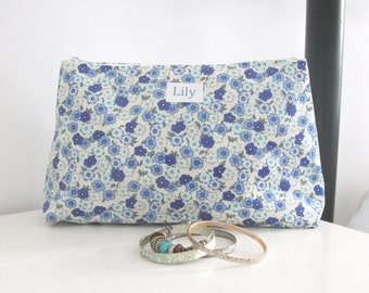 Personalised Wash Bag, make-up bag, zip purse, Personalized cosmetic bag. Monogrammed lined zip bag, zip pouch,toiletry bag, make up bag
