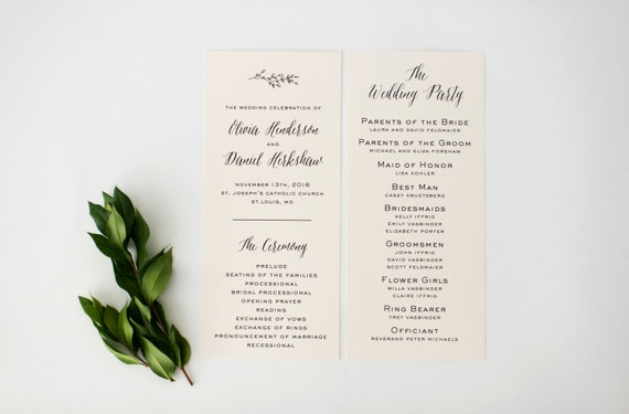 olivia wedding programs (sets of 10)  // lola louie paperie