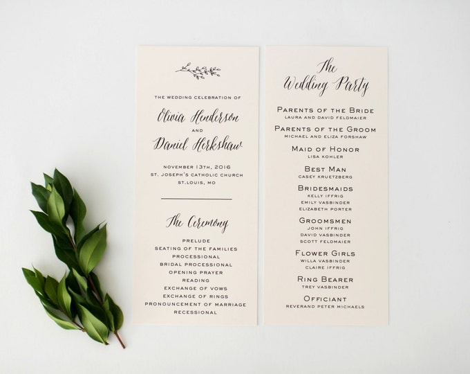 olivia wedding programs (sets of 10)  // winery olive branch laurel black white neutral calligraphy romantic modern wedding program