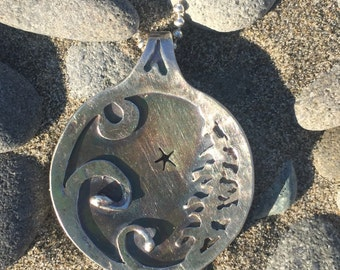 stargazer pendant ~ sterling silver ~ Pacific Northwest necklace ~ star ~ moon ~ tree ~ waves ~ coast ~ dreamer ~ rain forest ~ 2starbirds