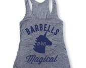 BARBELLS ARE MAGICAL Heather Grey /Royal  Workout Tank, Gym Tank, Gym Top, Crossfit, Workout Top