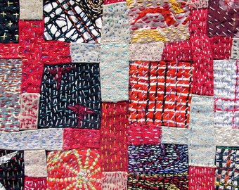 Twelve Patch with Crosses - Heavily Stitched and Patched Art Quilt - Blank Greeting Card with Envelope