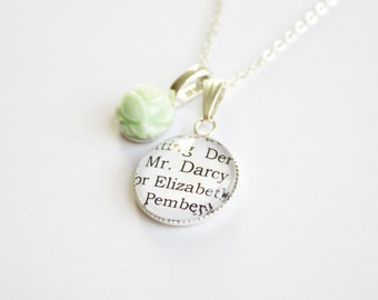 Jane Austen book page necklace. Sense Sensibility. Pride Prejudice. Mansfield. Emma. Northanger