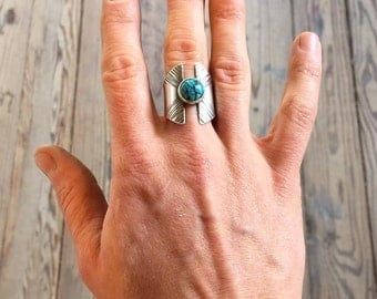 Silver Sparta Ring with Turquoise or Lapis Lazuli >>> Hammered Texture >>> Sturdy Handmade Bezel Setting