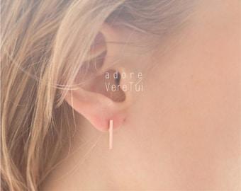 Simple Rose Gold Slim Bar Earrings
