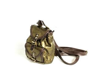 Mini Backpack, Faux leather backpack, Gold backpack, Vintage Backpack, Mini Rucksack, Mini Knapsack, Vegan backpack, Vegan leather bag