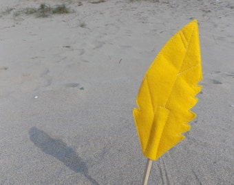 Yellow Felt Quill FEATHER Pencil Topper, Yellow Feather, Vegan