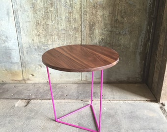 Modern Side Table with Round Walnut Top with Fuchsia Triangle Steel Base