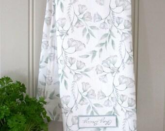 Green Damask Linen Union Tea Towel