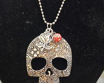 Sugar Skull and Rosebud Necklace