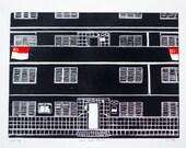 Dakota Crescent Block 14 HDB - Linocut, Lino Print, Original Print, Relief Print, Limited Edition, Block Print, Art Print, Printmaking