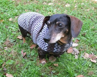 Brown Knit Print Dachshund Jacket~Reversible Fleece Dog Jacket~Soft & Warm Double Fleece Dog Coat~Dachshund Clothes~Dog Coat~Dachshund Coat~
