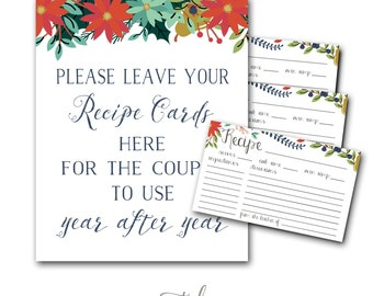 Recipe Card Printable, Fall Recipe Card, Winter Recipe Card, Christmas Recipe Card, Bridal Shower Recipe Card INSTANT DOWNLOAD