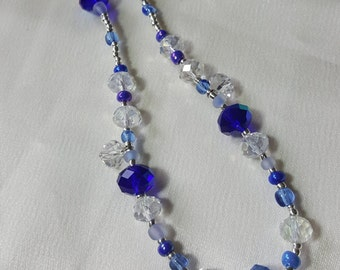 Blue and Silver Sparkle Glass Beaded Necklace