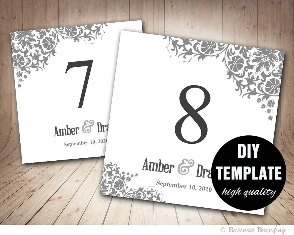 table number card template in grayfloral table card template. Black Bedroom Furniture Sets. Home Design Ideas