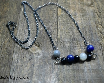 Simple Rustic Beaded Bar Necklace, Gemstone Beads, Bohemian Gypsy Jewelry, Blue Lapis and Labradorite Necklace, Sterling Silver, Boho Chic