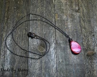 Pink Druzy Agate Pendant Necklace, Rustic Boho Wire Wrapped Gemstone Teardrop, Geode Druzy Jewelry, Bohemian, Oxidized Copper, Artisan, Chic