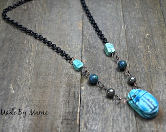 Rustic Assemblage Necklace, Bohemian Faience Scarab Jewelry, Egyptian, Blue, Vintage Beads, Gemstones, Oxidized Copper, Gypsy, Boho, Artisan