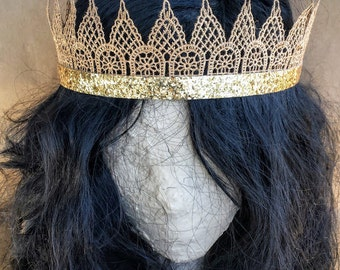 Gold Glitter Lace Crown for Adults; Festival Crown; Venice Lace Bridesmaid Crown; Gold Bachelorette Crown; Graduation Crown; Adult Crown
