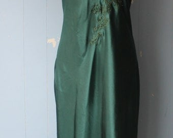 Vintage 90s Slip Dress/Forest Green/Embroidered