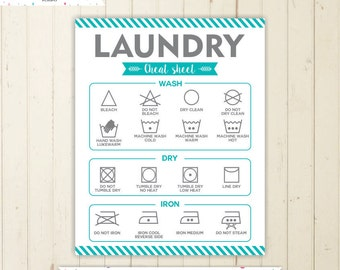 Laundry Symbols Printable Sign Cheat Sheet Instant Download Wall Art Print