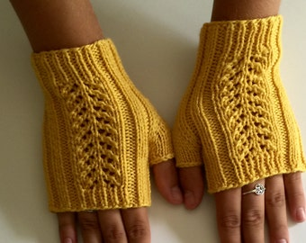 Yellow wool fingerless gloves, hand knit fingerless gloves, mustard yellow texting mitts.