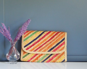 Vintage Woven Seagrass Clutch/ Colorful Stripe Clutch/ Clutch Purse/ Rainbow Stripe Clutch/ Womens Handbag