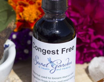 Congest Free|Organic Herbs| Non GMO|Chest Congestion Mucus Removing Respiratory Tract Health Herbal Tincture| 2 oz/4 oz.