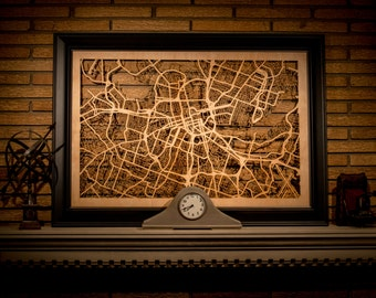 """29 Major City Maps - 24x36"""" Poster-sized Wood cutout of streets in: New York, Nashville, Atlanta, Boston, Seattle, Chicago, Paris, & More!"""