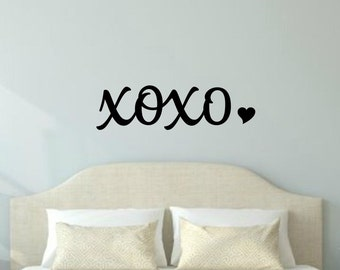 XOXO Wall Decal Love Wall Decal Romantic Decal XOXO Decal Master Bedroom Decal Valentines Day Love Vinyl Heart Decal Romantic Vinyl Decal