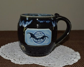 Halloween mug, Halloween, bat, coffee mug, cider mug, drinkware, black pottery, Halloween pottery, spider