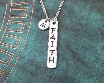 Faith Necklace Stamped Jewelry Faith Jewelry Faith Tag Necklace Faith Pendant Necklace Faith Charm Necklace Religious Jewelry Spiritual