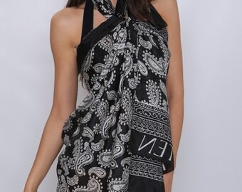 Anouszka Pure Silk Ladies Chic Beach Sarong and Pareo in Black and White Unique Design