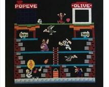 Popeye, Classic Nintendo - Handmade Finished Cross Stitch