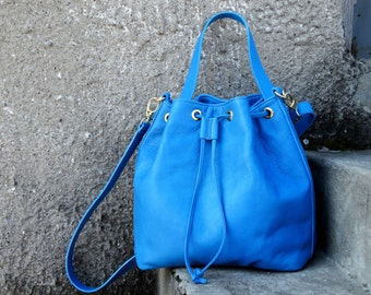 Blue Leather Bag, Leather Bucket Bag, Leather Crossbody Bag, Leather Handbag