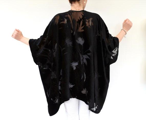 Black Velvet Kimono, Silk Kimono Jacket, Evening Jacket, Plus Size Kimono, Black Kimono Robe, Kimono Cardigan, Burnout Velvet Kimono