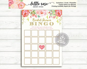 Bridal Shower Bingo Game - Watercolor Roses Printable  - Printable Bingo Card - Instant Download - LR1050 LR1051 LR1055 LR1056
